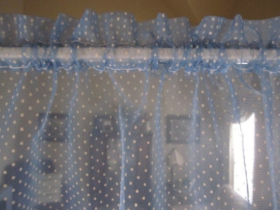 Vintage Swiss Dot Curtains Cafes Valance 3 Blue Swiss Dot