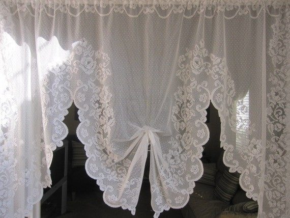 Vintage Lace Curtain, White Baroque Floral Lace Curtain Swag 42 long
