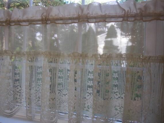 Vintage Ruffled Lace Valance, Sheer Scalloped Edge Lace Valance 60 ...