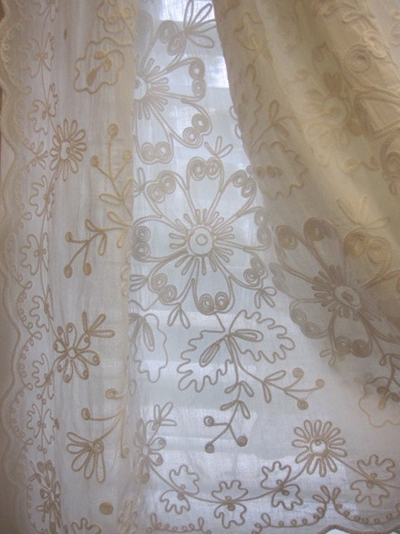 Curtains Ideas cotton curtains white : reserved for tomoco...Vintage Embroidered Curtains Set of 2