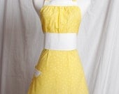 Vintage inspired Apron Retro Yellow polka dots trimmed in white