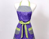 Apron, full bright purple gray and lime green