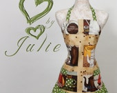 Green Polka Dots Apron- Beautiful Coffee Pots in Browns and Greens with a slash of Red