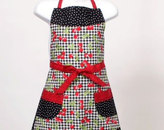 Child's full Apron Cherries and Polka dots Black White and Red