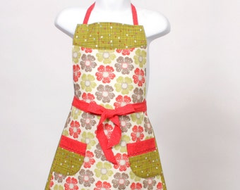Child's Retro Poppy Apron Red Chartreuse and Taupe.