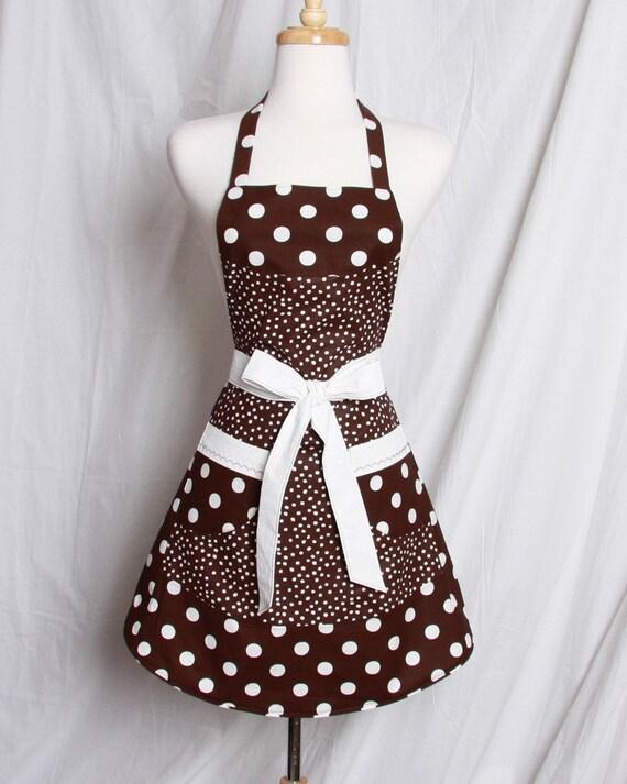 Retro Apron this fun and Flirty dark Brown White Polka dots with White trim