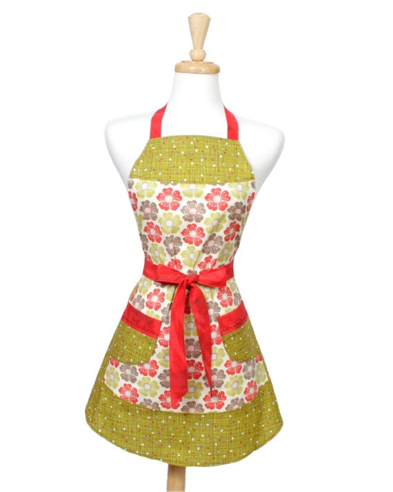 Retro Poppy Apron Red Chartreuse and Taupe.