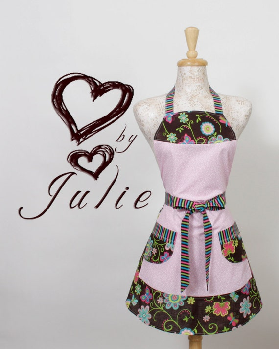 Womens Full Apron, Retro Flowers Stripes and Hearts Pinks Blue Green and Brown