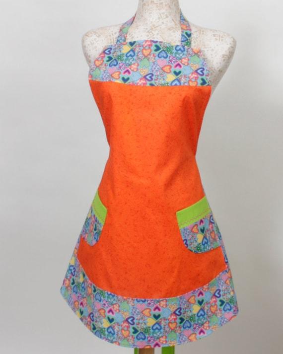 Womens plus size full Bib Apron, Multi colored hearts Bright Orange and Lime Green