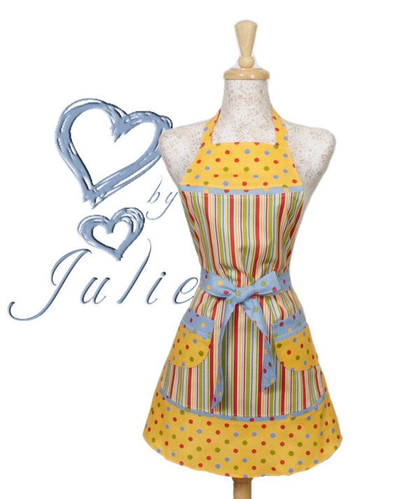 Stripes Dots Apron, Blue Yellow Green Red and White Stripes and Polka Dots.