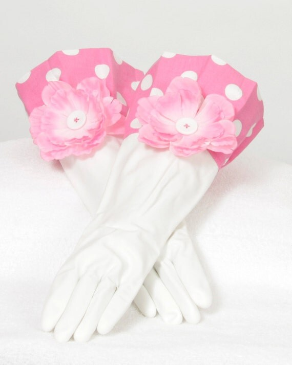 Pink white Diva Gloves Retro fabric for Dish washing and Cleaning