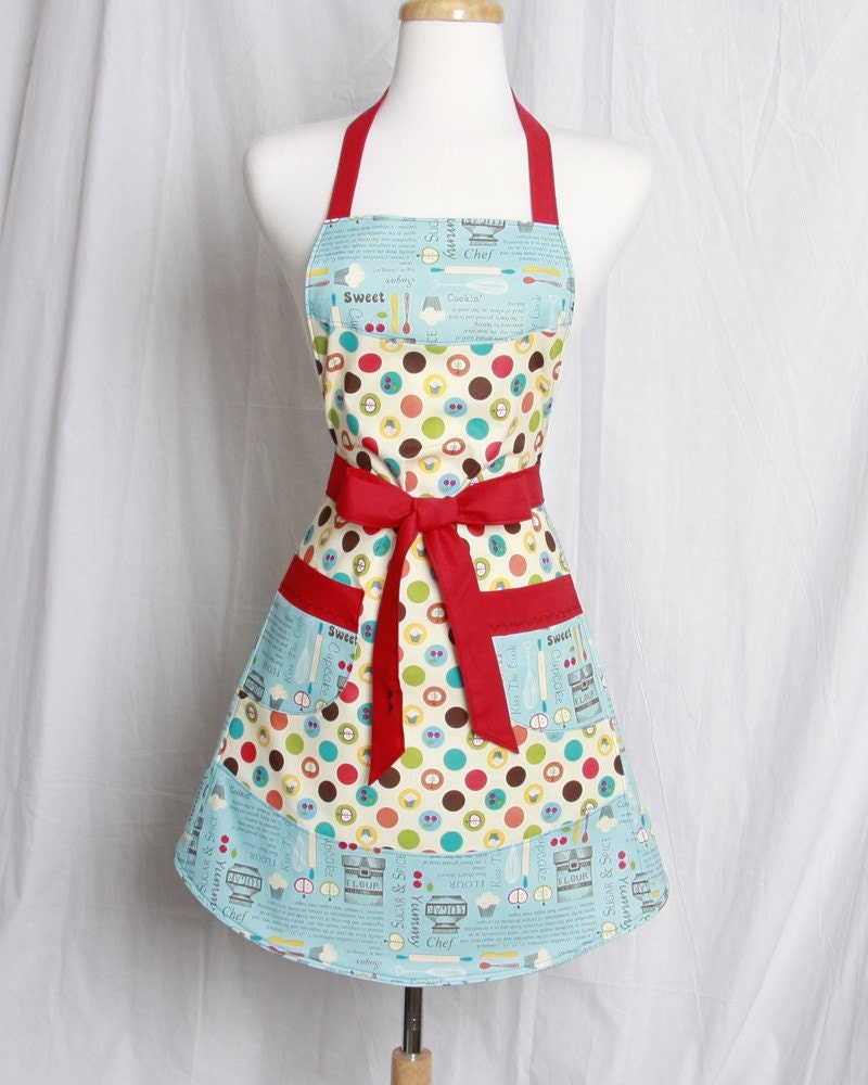 Vintage Inspired Apron With A Retro Style Kitchen Motif With