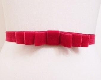 Raspberry Velvet Bow Belt