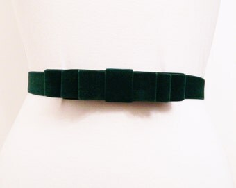 Dark Green Velvet Bow Belt