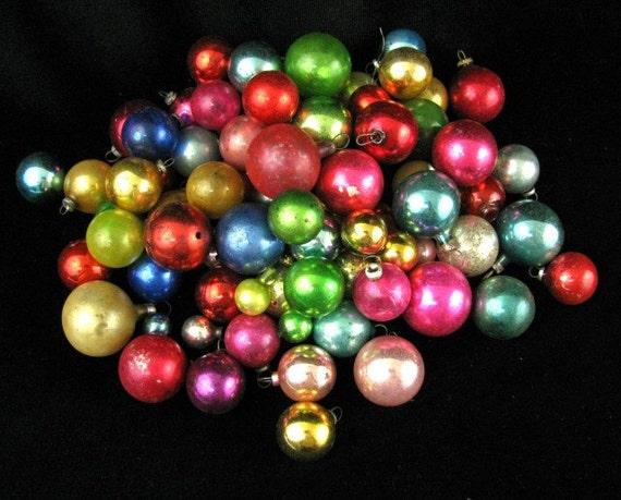 Vintage Mercury Glass Mini Christmas Balls Lot of 75 Red Blue Green Gold B
