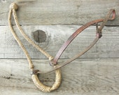 Vintage HORSE BOSAL - Rustic Country Decor - Rope with Leather Strap