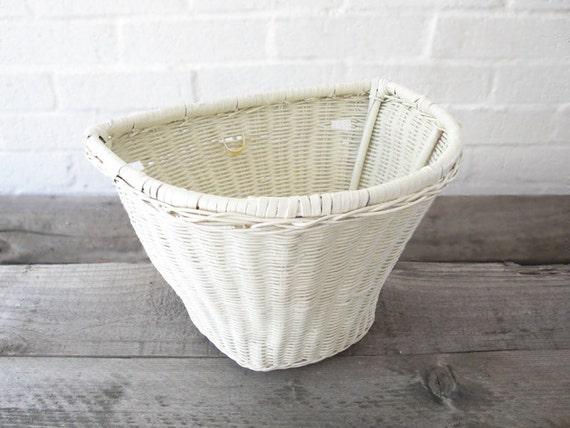 Vintage WHITE WICKER Bicycle Basket