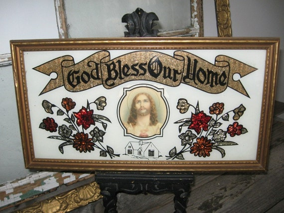 Vintage God Bless Our Home RELIGIOUS PICTURE - Framed Art Picture - Country Farmhouse Decor