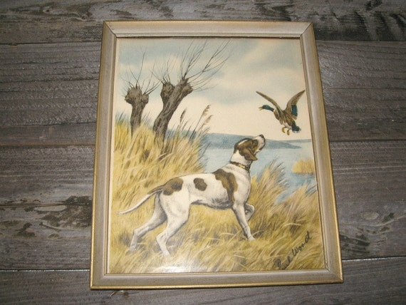Reserved Vintage Hunting Dog Art Print Picture Paul Wood