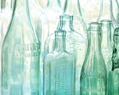Antique bottles no. 2 ... old blue green bottles in morning light photo with sea glass colors