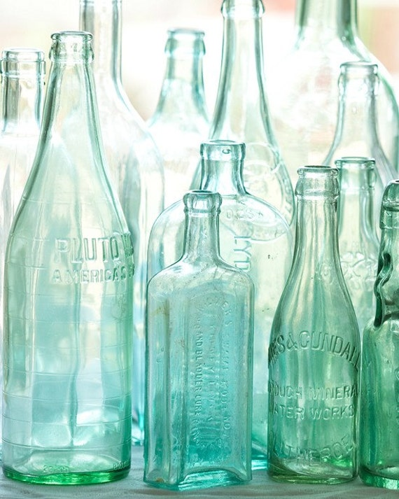 Blue And Green Dining Room: Items Similar To Antique Bottles No. 2 ... Old Blue Green