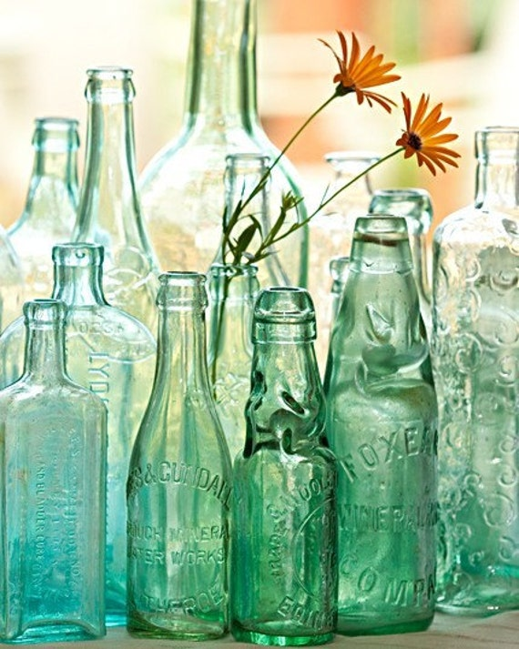 Glass Reflections- flowers in bottle fine art photo