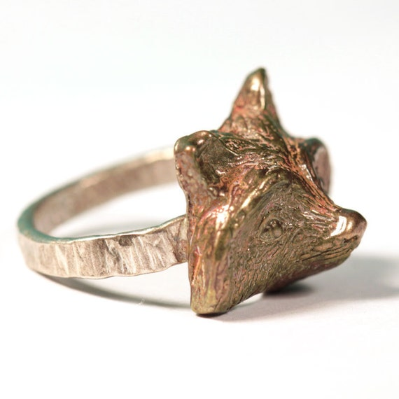 Bronze Ring with Raccoon - completely handmade