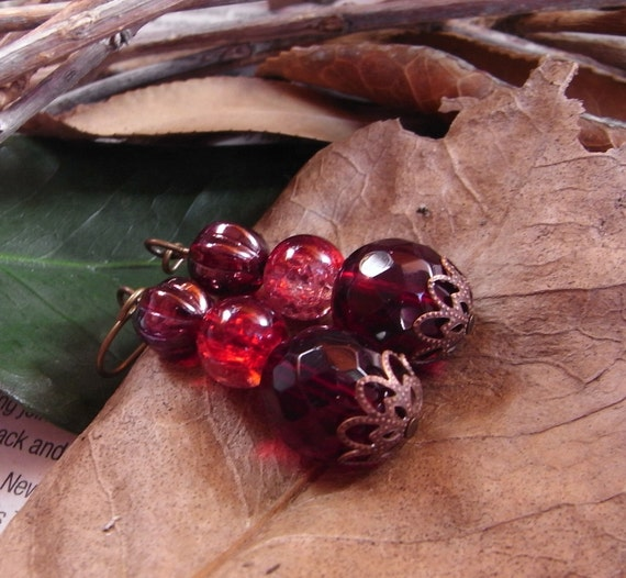 Ruby and Garnet Red Colour Therapy Earrings beaded, handmade on brass