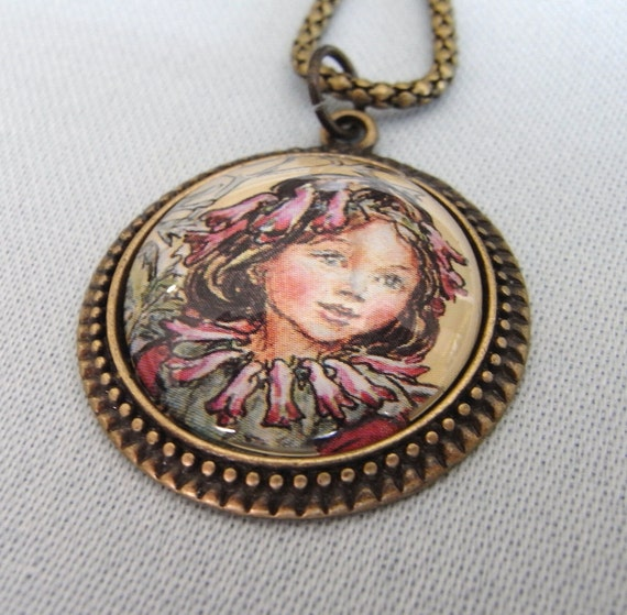 With Flowers In Her Hair, fairy decoupage necklace, altered art pendant, vintage inspired