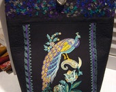 Tote Bag - Quilted Embroidered Peacock Market Tote Bag w\/crystals