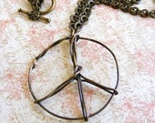 ON SALE Rustic Hand Twisted and Wire Wrapped Peace Sign Pendant in Antique Brass