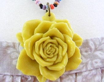 Yellow Rose Cabochon Pendant Large on Beaded and Knotted Necklace
