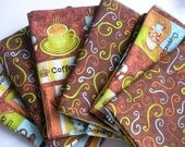 Cloth Napkins in a Brown, Green and Blue Coffee Cup Print