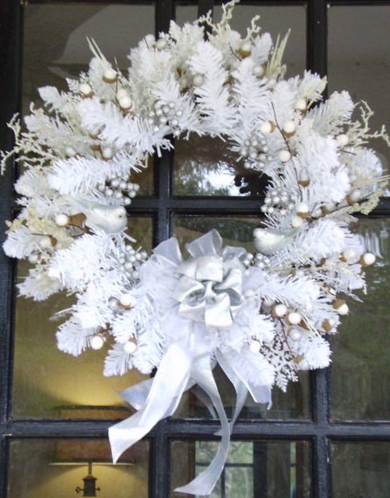 Mega sale FREE SHIPPING Frosty winter white and silver seasonal outdoor winter wreath