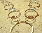 Dual Metal Copper/Silver, Circle Link Necklace
