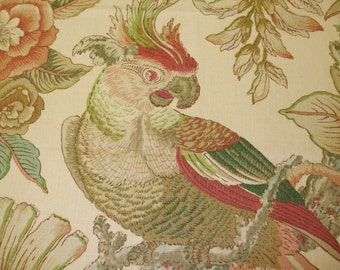 100% Linen Fabric By Lee Jofa -  Parrots, parrot fabric, tropical fabric, drapery fabric, upholstery fabric