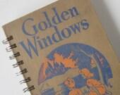 Vintage Book Journal Notebook Sketchbook Scrapbook Old Brown Recycled Upcycled Repurposed 'Golden Windows'