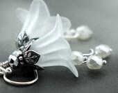 Bridal Earrings - Wedding White Flower Chandeliers