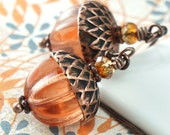 Acorn Earrings with Copper and Tangerine Glass
