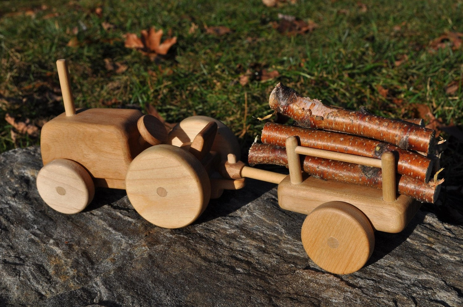 Wooden Farm Tractor And Wagon