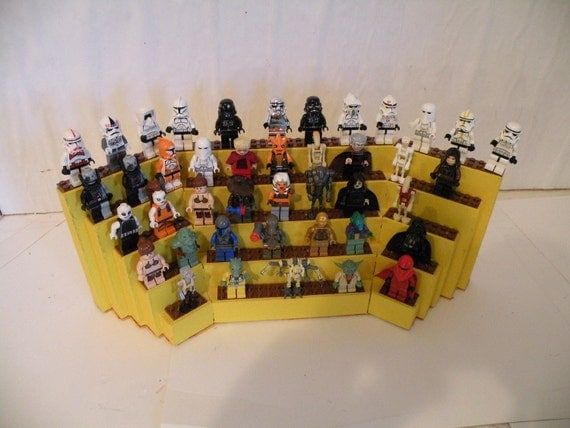 Handcrafted Wooden Star Wars Lego Minifigure Tabletop Display Shelf is Gloss Yellow with Brown Lego Plates