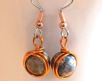 Wire Wrapped Leopardskin Jasper Dangles