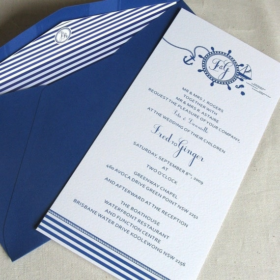 Items similar to nautical collection wedding invitation for Wedding invitations in spanish etsy
