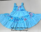 Ariel Dress Girls  Sundress Little Mermaid Size 2 - 8, and 10,  Aqua Blue VERY Full Nice Details Made to order