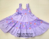 girls dress Sundress Little Mermaid Ariel Purple Lavender size 2 - 8, and 10 Limited Availablity VERY Full Nice Details Made to Order