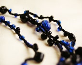 FREE SHIPPING - Deep blue - crocheted necklace / bracelet - deep blue glass, black glass and wooden beads