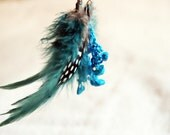 Turquoise feathers earrings - crocheted earrings with turquoise blue feathers