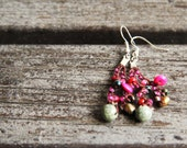 Dangle earrings - crocheted Olive and Fichsia earrings - pearls, jasper, glass and  wood beads - rusteam oht - Free Worldwide Shipping