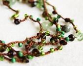Woodland necklace / woodland bracelet - Enchanted Forest  - versatile crocheted necklace / bracelet - rusteam oht - Free Worldwide Shipping