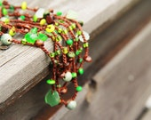 Last item - Woodland necklace / bracelet - Enchanted Forest  - crocheted necklace / bracelet - rusteam ohtteam - Free Worldwide Shipping